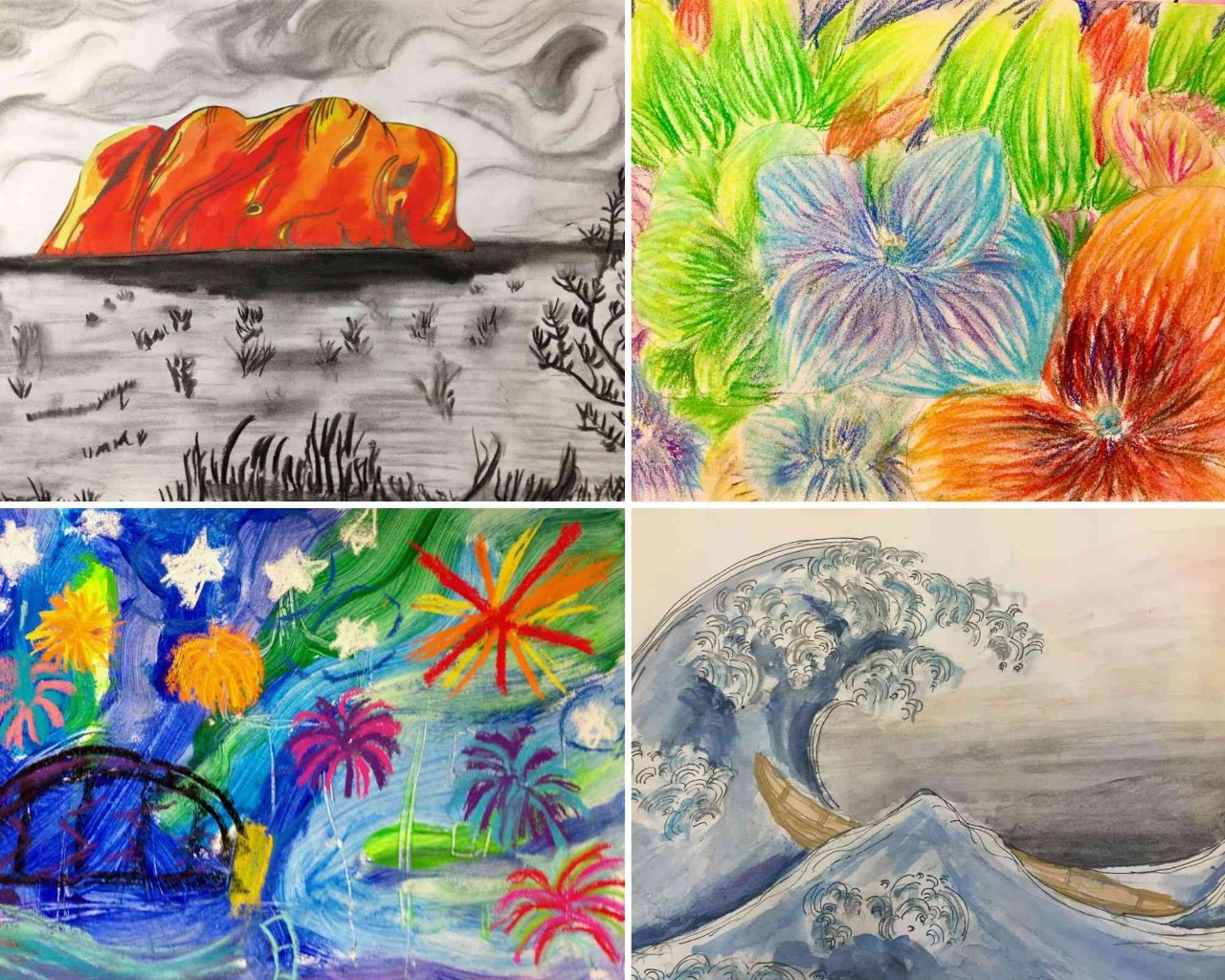 Collage of students artwork showing 4 paintings and drawings